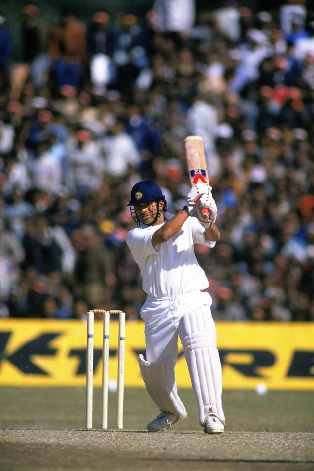 18 Jan 1993:  Sachin Tendulkar of India in action during the Tour Match one day international against England played at the Sawai Mansingh Stadium, in Jaipur, India. \ Mandatory Credit: Chris Cole /Allsport
