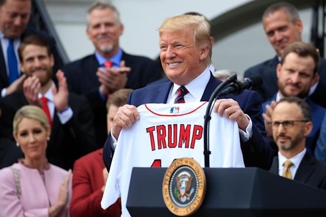 None of the players spoke to the media and President Trump stuck to his script while honoring the incredible season the Red Sox had last year. (AP)
