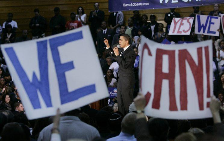 Democratic presidential hopeful Sen. Barack Obama, D-Ill., speaks during a rally Tuesday, Feb. 19, 2008, in San Antonio, Texas. (Photo: Rick Bowmer/AP)