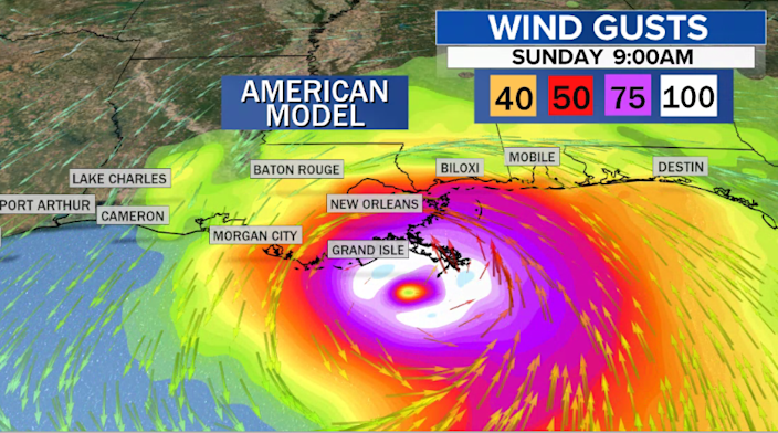The American model forecasting wind gusts from Ida. / Credit: CBS News