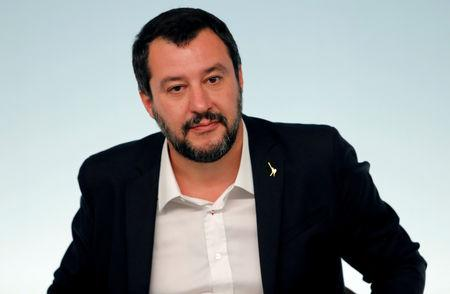 FILE PHOTO: Interior Minister Matteo Salvini attends a news conference after a cabinet meeting at Chigi Palace in Rome