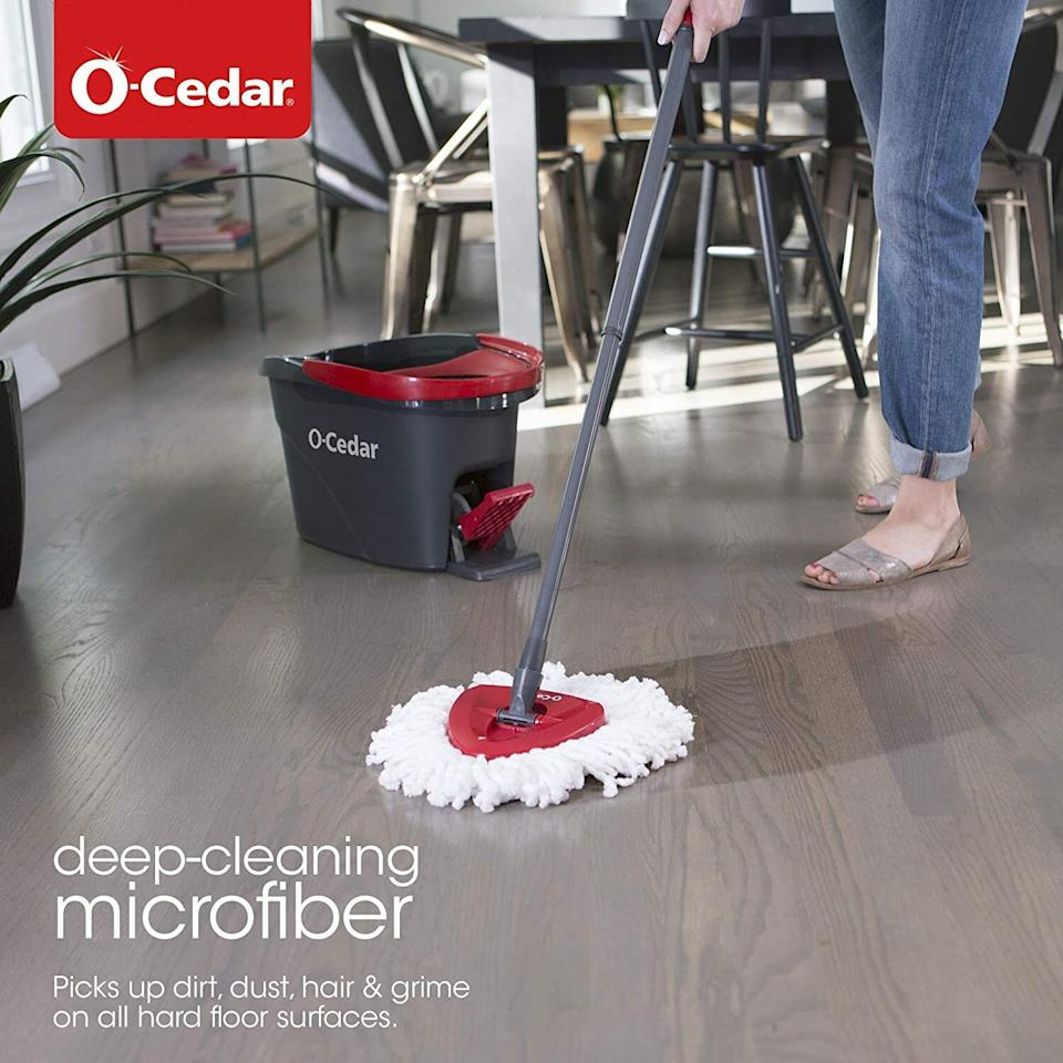 """It has a built-in wringer, because sometimes an old-school mopping can go a long way.<br /><br />I've been using this regularly for the last six months and I never thought I'd be<i>so</i>impressed by something so seemingly boring. The foot-operated wringer is a life-saver for a lazy cleaner like me, and the microfiber mop dries quickly and stays fresh in between uses.<br /><br /><strong>Get it from Amazon for<a href=""""https://amzn.to/3uDB7wN"""" target=""""_blank"""" rel=""""nofollow noopener noreferrer"""" data-skimlinks-tracking=""""5892474"""" data-vars-affiliate=""""Amazon"""" data-vars-asin=""""B07VWL357N"""" data-vars-href=""""https://www.amazon.com/dp/B07VWL357N?tag=bfdaniel-20&ascsubtag=5892474%2C22%2C33%2Cmobile_web%2C0%2C0%2C16507722"""" data-vars-keywords=""""cleaning"""" data-vars-link-id=""""16507722"""" data-vars-price="""""""" data-vars-product-id=""""16517100"""" data-vars-product-img=""""https://m.media-amazon.com/images/I/410rF8XUdQL.jpg"""" data-vars-product-title=""""O-Cedar EasyWring Microfiber Spin Mop & Bucket Floor Cleaning System + 2 Extra Refills, Red/Gray"""" data-vars-retailers=""""Amazon"""">$38.99</a>.</strong>"""