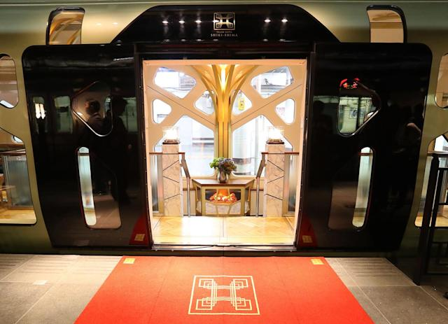 <p>One of the entrances to the Train Suite Shiki-shima. (Photo: STR/AFP/Getty Images) </p>