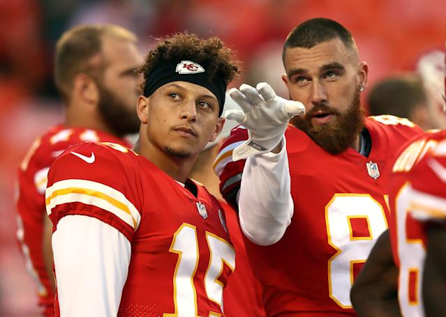 Travis Kelce (R) has stories to tell about Patrick Mahomes, notably about his quarterback's voice. (Getty Images)