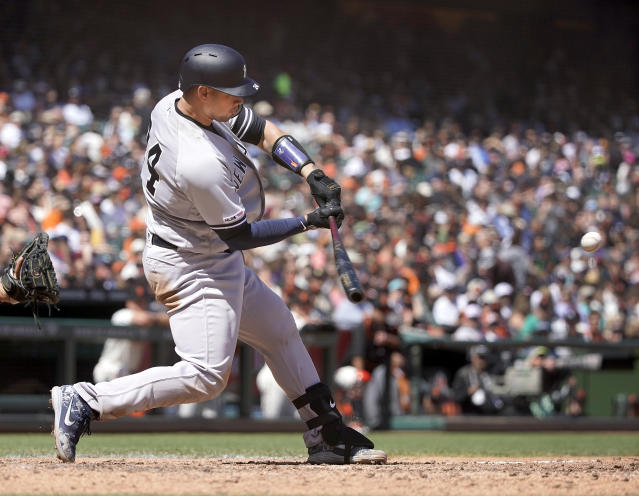 New York Yankees' Gary Sanchez hits a two-run home run against the San Francisco Giants in the sixth inning of a baseball game Sunday, April 28, 2019, in San Francisco. (AP Photo/Tony Avelar )