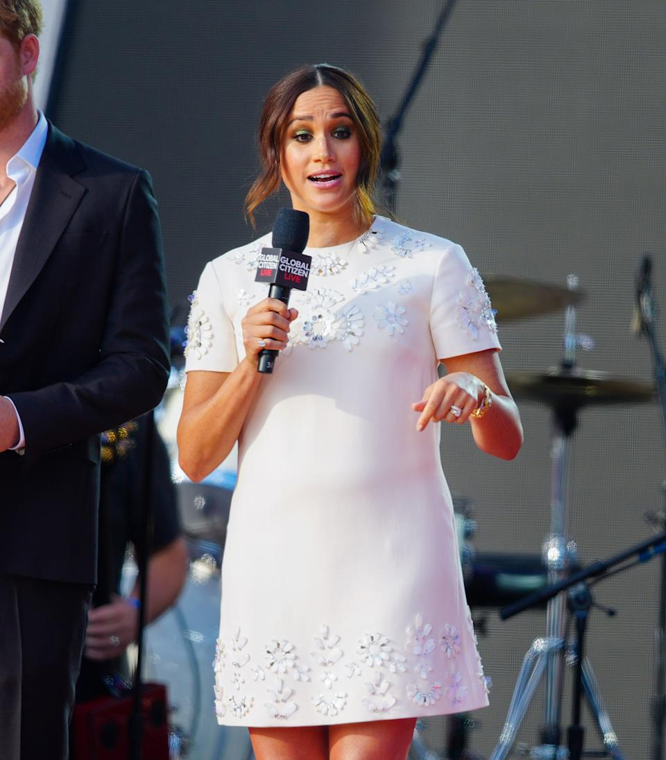 Prince Harry and Meghan Markle speak on stage at Global Citizen Live: New York on September 25, 2021 in New York City