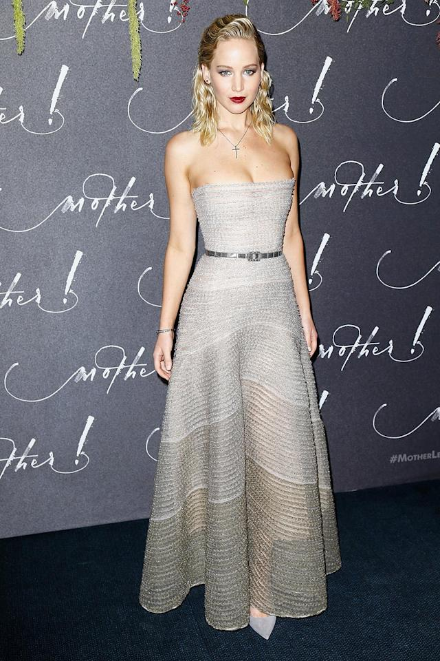 The actress returned to Dior for another silver look. (Photo by Julien Hekimian/WireImage)