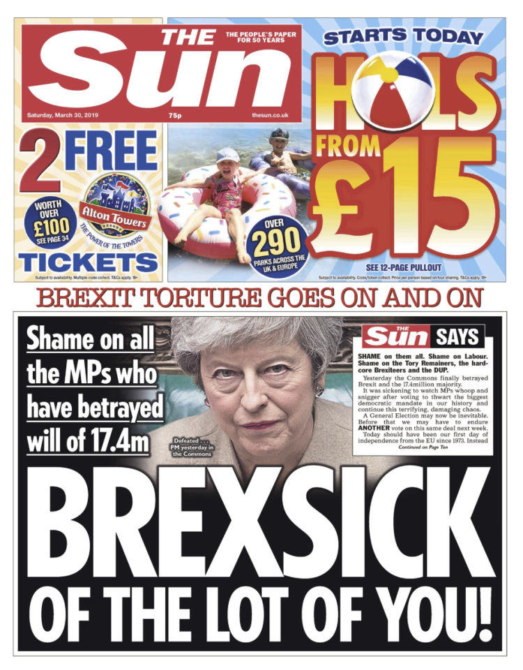 "<p>In a front-page editorial, The Sun blames Labour, Tory Remainer MPs, hardline Brexiteers and DUP MPs, saying they ""betrayed Brexit"" in the vote.<br />""It was sickening to watch MPs whoop and snigger after voting to thwart the biggest democratic mandate in our history and continue this terrifying, damaging chaos,"" the paper says.<br />""Instead of being out, MPs have contrived to put Britain's fate in EU hands… That is down to the abject failure and contemptible dishonesty of the worst crop of politicians of our lifetimes."" </p>"