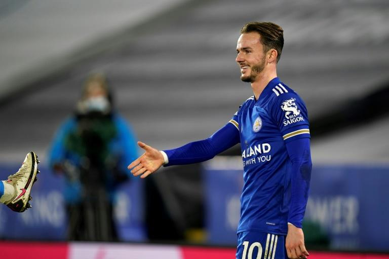 Socially distanced celebration: Leicester's James Maddison adhered to new protocols on goal celebrations after his strike against Southampton