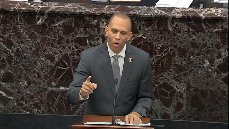 House impeachment manager Rep. Hakeem Jeffries, D-N.Y., speaks during the impeachment trial against President Donald Trump in the U.S. Senate.