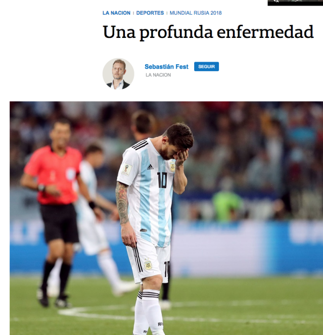 La Nacion said Argentina's national side are affected by 'a deep sickness'. (Twitter)