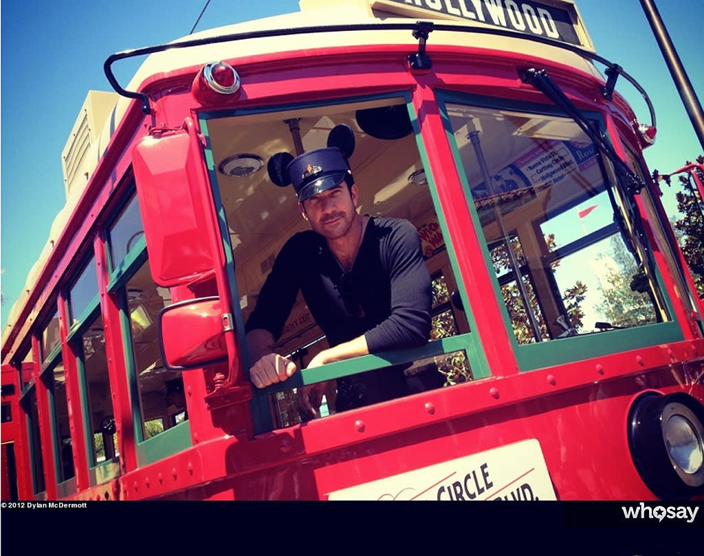 "<span style=""color:black;"">If the whole acting thing doesn't work out, ""The Perks of Being a Wallflower"" star Dylan McDermott could have a future as a train conductor. McDermott posted a pic of himself at Disney California Adventure to <a target=""_blank"" href=""http://www.whosay.com/dylanmcdermott/photos/222864"">his WhoSay page</a> over the weekend. The 50-year-old checked out the red car trolley while at the park, where he was celebrating his daughter Charlotte's 7<sup>th</sup> birthday.(9/7/2012)</span>"