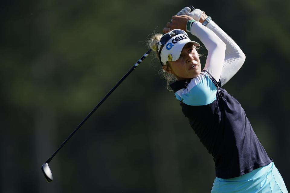 Nelly Korda of the U.S. tees off on the 18th hole during the final round of play in the KPMG Women's PGA Championship golf tournament, Sunday, June 27, 2021, in Johns Creek, Ga. (AP Photo/John Bazemore)