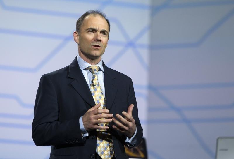 Warren East speaks during a Samsung Electronics keynote address at the CES in Las Vegas
