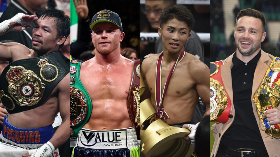 Manny Pacquiao, Canelo Alvarez, Naoya Inoue and Josh Taylor pack a crowded field of contenders for the Boxer of the Year. (Getty Images)