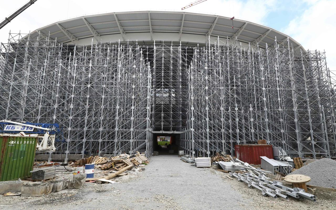 A general view shows Ekaterinburg Arena, the stadium under construction which will host matches of the 2018 FIFA World Cup in the city of Yekaterinburg, Russia September 18, 2017. REUTERS/Stringer