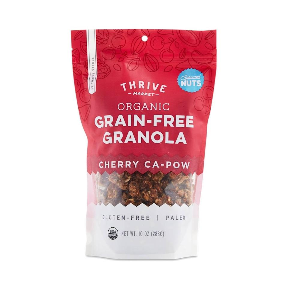 "<p>This <a href=""https://www.popsugar.com/buy/Thrive-Market-Organic-Granola-Cherry-Ca-Pow-579511?p_name=Thrive%20Market%20Organic%20Granola%2C%20Cherry%20Ca-Pow&retailer=thrivemarket.com&pid=579511&price=7&evar1=yum%3Auk&evar9=47527669&evar98=https%3A%2F%2Fwww.popsugar.com%2Ffood%2Fphoto-gallery%2F47527669%2Fimage%2F47527676%2FThrive-Market-Organic-Granola-Cherry-Ca-Pow&list1=shopping%2Chealthy%20snacks%2Csnacks%2Cthrive%20market&prop13=api&pdata=1"" rel=""nofollow"" data-shoppable-link=""1"" target=""_blank"" class=""ga-track"" data-ga-category=""Related"" data-ga-label=""https://thrivemarket.com/p/thrive-market-organic-granola-cherry-ca-pow"" data-ga-action=""In-Line Links"">Thrive Market Organic Granola, Cherry Ca-Pow</a> ($7) is a great breakfast or snack.</p>"