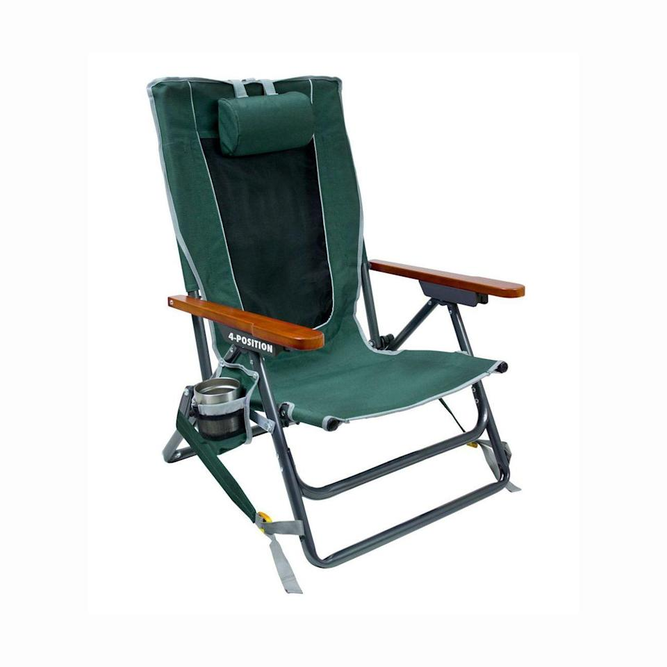 """<p><strong>GCI</strong></p><p>amazon.com</p><p><strong>$63.00</strong></p><p><a href=""""https://www.amazon.com/GCI-Outdoor-Wilderness-Reclining-Portable/dp/B07C3WK1RZ/?tag=syn-yahoo-20&ascsubtag=%5Bartid%7C10055.g.31954468%5Bsrc%7Cyahoo-us"""" rel=""""nofollow noopener"""" target=""""_blank"""" data-ylk=""""slk:Shop Now"""" class=""""link rapid-noclick-resp"""">Shop Now</a></p><p>For beachgoers that simply like to sit back and enjoy the view, this outdoor recliner is great for sitting for long periods of time. It<strong> features an adjustable headrest</strong> and a four-position recline, plus a mesh backrest to help keep you cool — not to mention a pocket and cupholder for your beverages, too. """"This was the only chair I could find with both backpacking straps and no crossbar,"""" says one satisfied reviewer, while he claims other chairs with a crossbar would cut off his leg circulation. His only complaint is that he wishes the chair came in brighter colors, since the dark green feels out of place at the beach. </p>"""