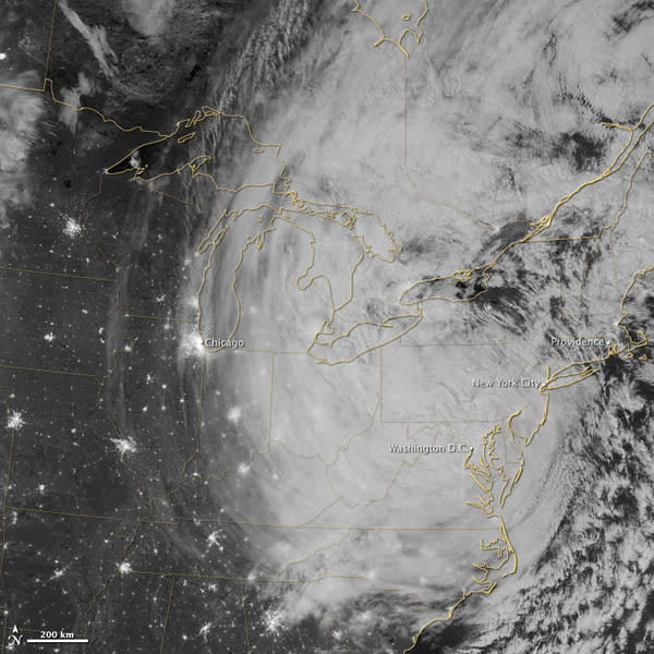 This nighttime view of Sandy was taken overnight (Oct. 30) by the Visible Infrared Imaging Radiometer Suite (VIIRS) on the Suomi NPP satellite around 3:35 a.m. EDT. The cloud tops were illuminated by the full moon.