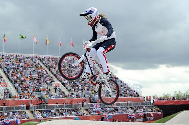 LONDON, ENGLAND - AUGUST 08: Aneta Hladikova of Czech Republic competes during the Women's BMX Cycling on Day 12 of the London 2012 Olympic Games at BMX Track on August 8, 2012 in London, England. (Photo by Harry How/Getty Images)