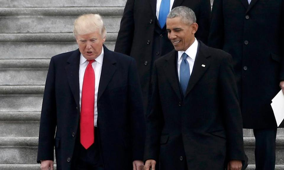 President Trump accompanies the outgoing president Obama down to the Capitol.