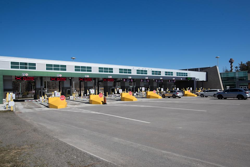 Closed gates are seen at the Canadian border at the US/Canada border in Lansdowne, Ontario, on March 22, 2020. - The United States agreed with Mexico and Canada to restrict non-essential travel because of the coronavirus, COVID-19, outbreak and is planning to repatriate undocumented immigrants arriving from those countries. (Photo by Lars Hagberg / AFP) (Photo by LARS HAGBERG/AFP via Getty Images)