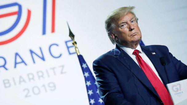 PHOTO: President Donald Trump looks on during a news conference at the end of the G7 summit in Biarritz, France, Aug. 26, 2019. (Carlos Barria/Reuters)