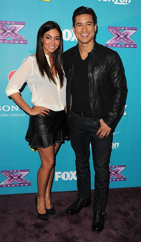 """Courtney Mazza and Mario Lopez arrives at the Fox's """"The X Factor"""" Finalists Party at The Bazaar at the SLS Hotel Beverly Hills on November 5, 2012 in Los Angeles, California."""
