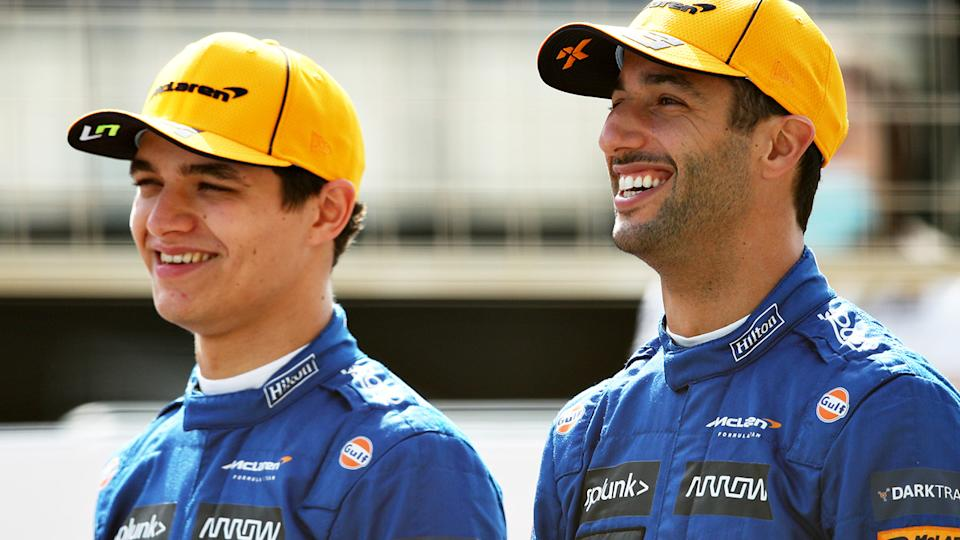 McLaren's Lando Norris says he's surprised teammate Daniel Ricciardo hasn't caught up to him, considering other drivers who switched teams are performing well. (Photo by Joe Portlock/Getty Images)