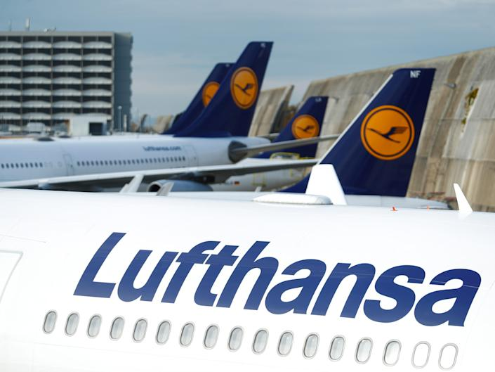 FILE PHOTO: Lufthansa airplanes are seen parked on the tarmac during a strike of cabin crew union (UFO) at Frankfurt airport, Germany November 7, 2019. REUTERS/Ralph Orlowski