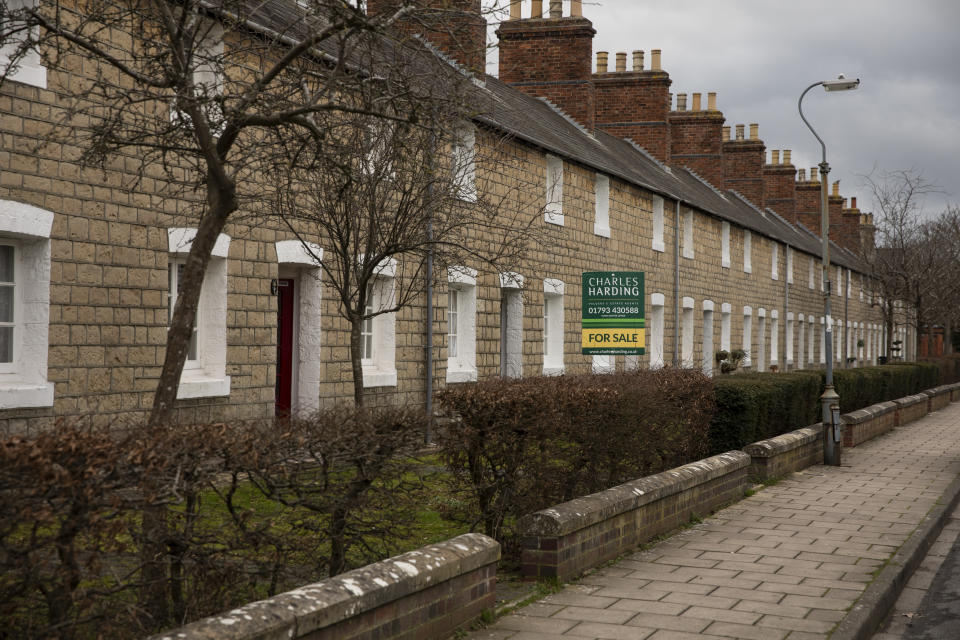 SWINDON, ENGLAND - FEBRUARY 20: A for sale sign down a street in what is known as the Railway Village on February 20, 2019 in Swindon, England. The area once housed the workers of the GWR (Great Western Railway) but now comprises of private and social housing. The car manufacturer Honda announced on Tuesday it is to shut down the Swindon plant in 2022, putting 3,500 jobs at risk. The factory is Honda's only EU plant and has produced the Honda's 'Civic' model for over 24 years, with 150,000 of the cars rolling off the line annually. The manufacturer is a major employer in the town of around 220,000 and sits on the M4 corridor between London to the East and Bristol to the West. In 1986 one of the towns last major employers GWR (Great Western Railway) closed it's doors after a 140 year history of Railway locomotive manufacture putting around 1,500 people out of work. (Photo by Dan Kitwood/Getty Images)