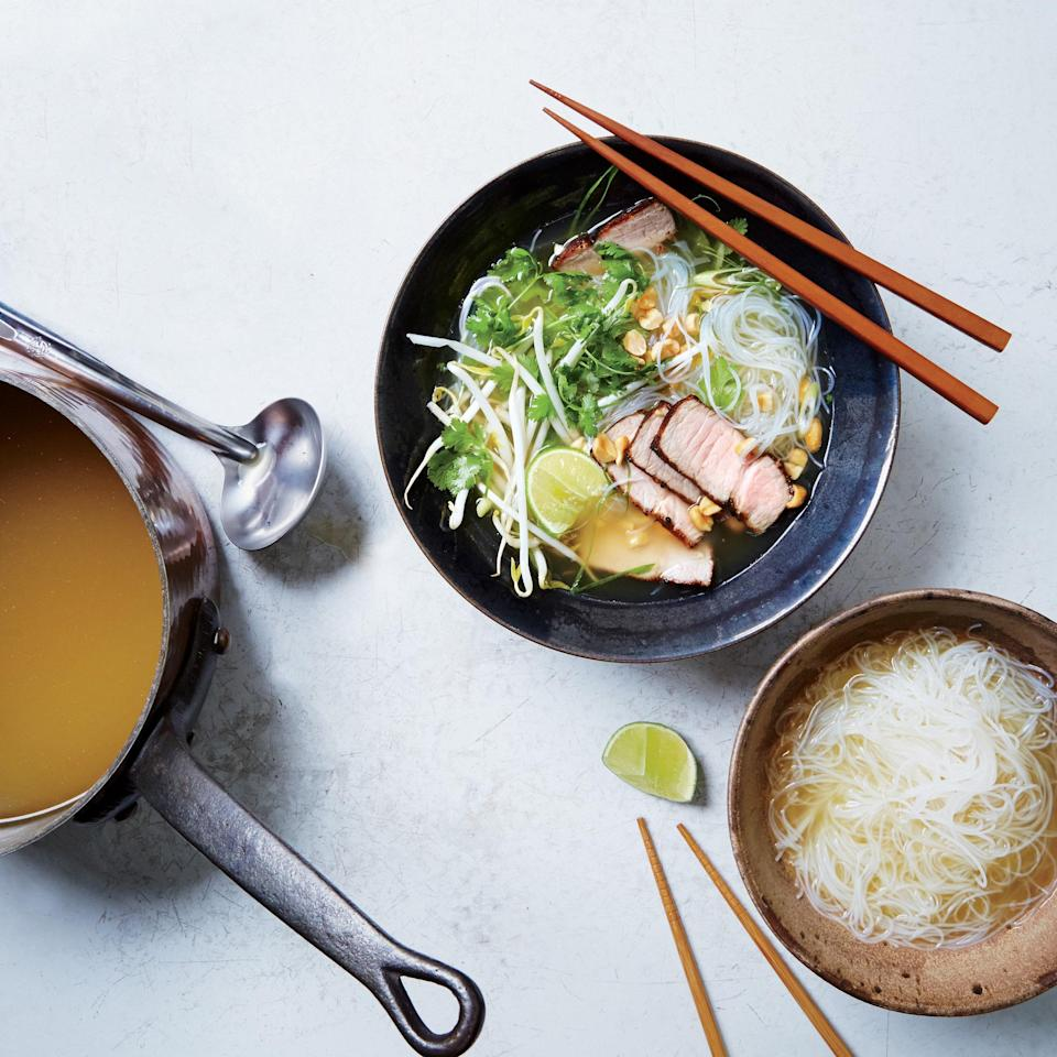 """Achieve the deep, comforting flavors of slow-cooked pho in an hour with a few clever shortcuts. <a href=""""https://www.epicurious.com/recipes/food/views/quick-pork-pho-51252620?mbid=synd_yahoo_rss"""" rel=""""nofollow noopener"""" target=""""_blank"""" data-ylk=""""slk:See recipe."""" class=""""link rapid-noclick-resp"""">See recipe.</a>"""