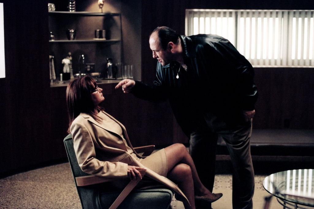 "Lorraine Bracco and James Gandolfini in HBO's ""The Sopranos."""
