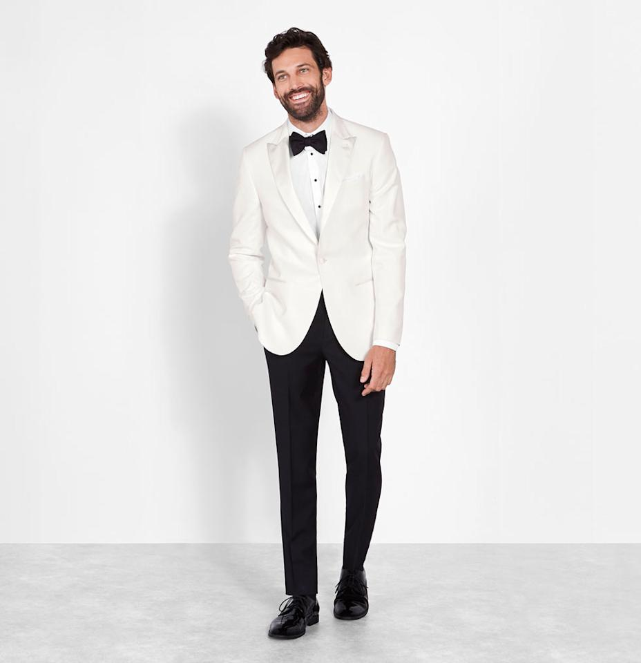 """<p>Rent for $125 (includes coat and pant), <a rel=""""nofollow"""" href=""""https://theblacktux.com/collection/tuxedos/white-dinner-jacket"""">theblacktux.com</a>(Photo: Courtesy of The Black Tux) </p>"""