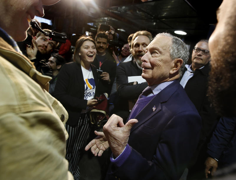 Former New York City Mayor Michael Bloomberg meets with supporters during a campaign stop in Sacramento, Calif., Monday, Feb. 3, 2020. (Rich Pedroncelli/AP)