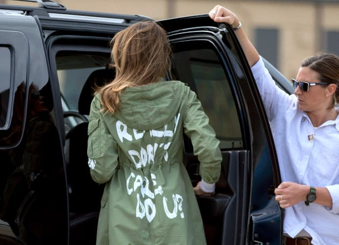 Melania Trump wears her 'I Really Don't Care. Do U?' jacket in June 2018 - Credit: ASSOCIATED PRESS.