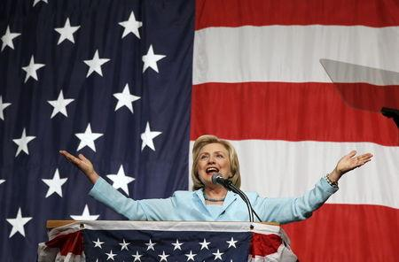 U.S. Democratic presidential candidate Hillary Clinton speaks at the Iowa Democratic Wing Ding dinner in Clear Lake