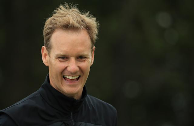Dan Walker, BBC TV presenter, in action during the Pro Am event July 10, 2019. (Andrew Redington/Getty Images)