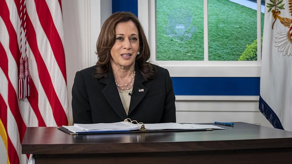 Vice President Kamala Harris leads a session at the Presidents virtual COVID Summit on building back better and preparing and preventing future pandemics  at the White House in Washington, DC on Wednesday, September 22, 2021. (Ken Cedeno/UPI via Getty Images)