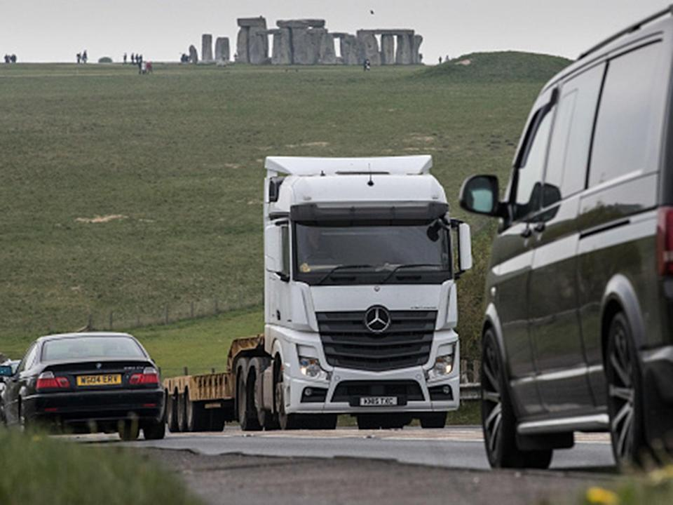 Traffic is a common sight on the A303 next to Stonehenge (Getty)
