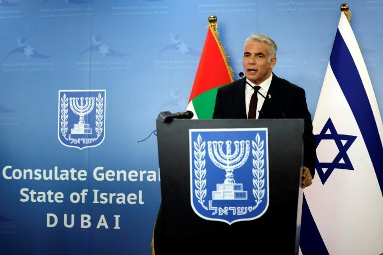 Israel's Foreign Minister Yair Lapid at the opening of the Israeli consulate in Dubai