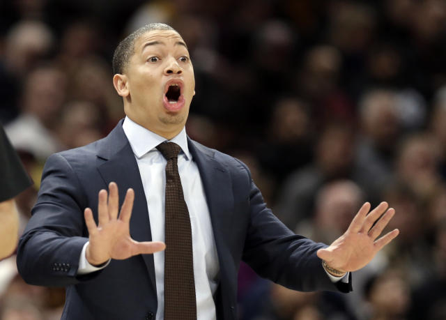 Cleveland Cavaliers head coach Tyronn Lue yells instructions to players in the second half of an NBA basketball game against the Sacramento Kings, Wednesday, Dec. 6, 2017, in Cleveland. The Cavaliers won 101-95. (AP Photo/Tony Dejak)