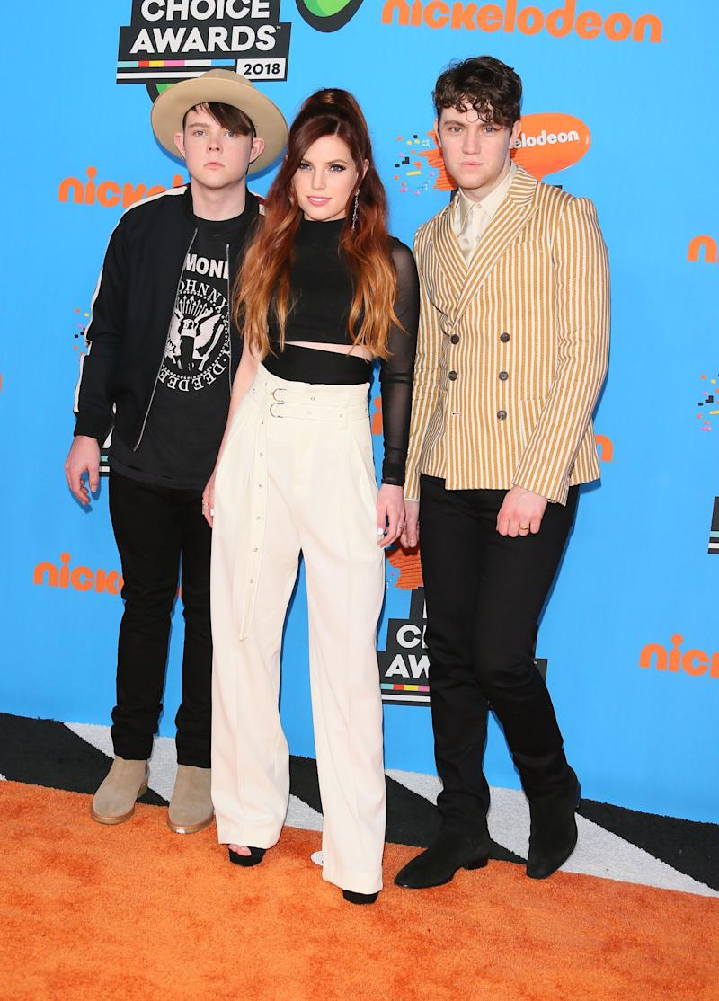 Graham, left, Sydney and Noah Sierota of Echosmith at the Nickelodeon Kids' Choice Awards on March 24, 2018. Graham Sierota is apologizing for messages he sent to a 13-year-old girl.