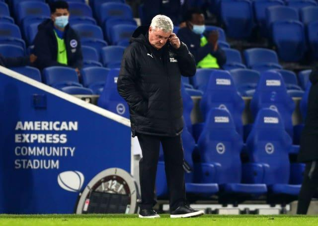 Steve Bruce is under more pressure after Newcastle's defeat at Brighton (Clive Rose/PA)