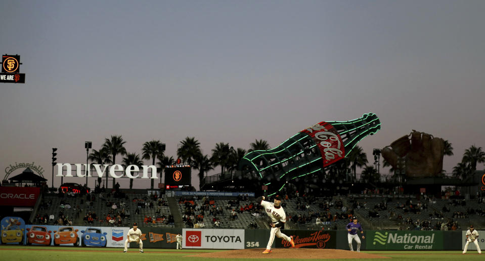 San Francisco Giants' Aaron Sanchez throws against the Colorado Rockies during the fifth inning of a baseball game in San Francisco, Tuesday, April 27, 2021. (AP Photo/Jed Jacobsohn)
