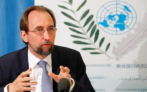 Mr Al-Hussein speaking in Geneva - Credit: Reuters