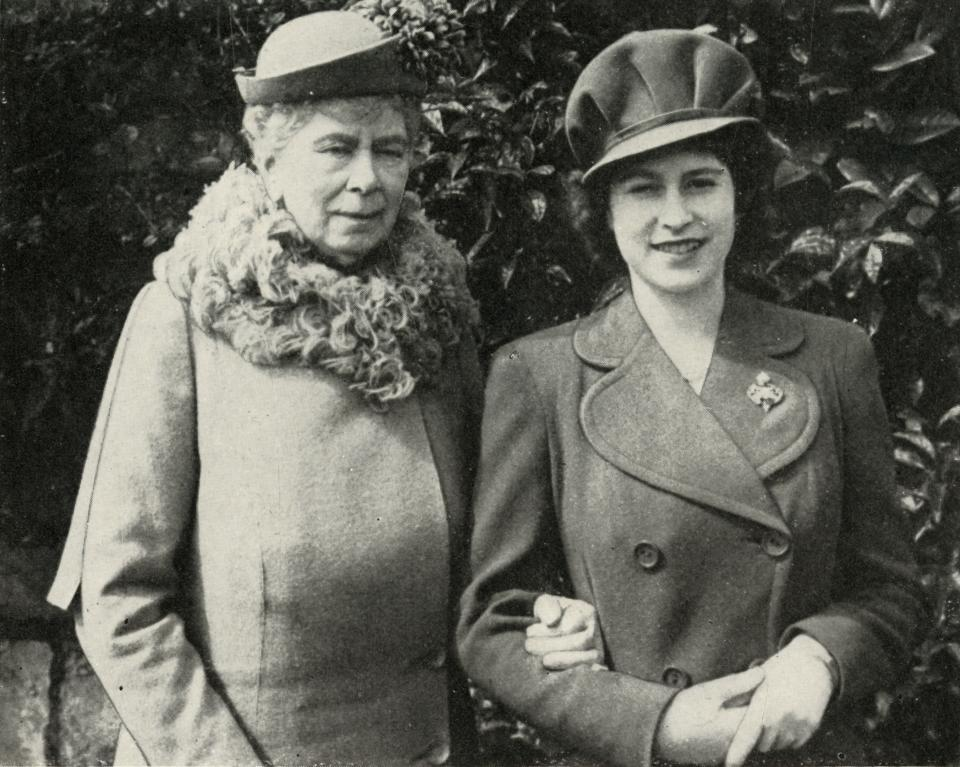 Queen Mary with Princess Elizabeth, April 1944, (1951). 'Queen Mary with Princess Elizabeth at the party held to celebrate the eighteenth birthday of the Princess'. Queen Mary of Teck (1867-1953) with her granddaughter the Princess Elizabeth (born 1926, future Queen Elizabeth II). From