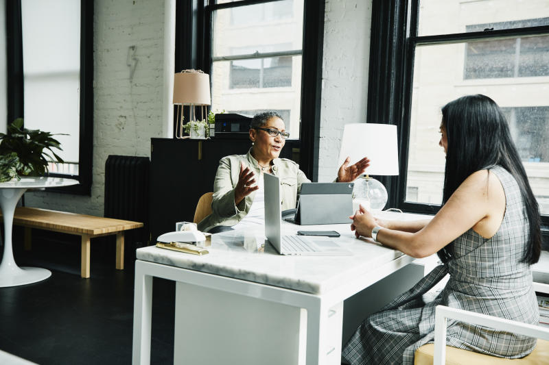 Female financial advisor in discussion with mature female business owner at desk in office
