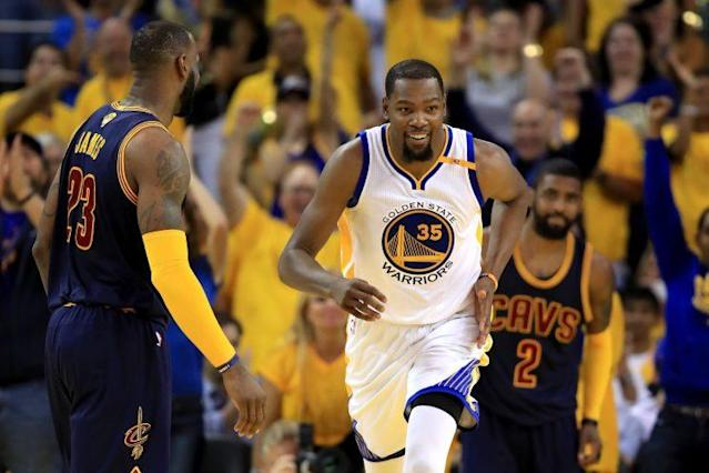 Kevin Durant says he's aware of what the Cavs will try to do in Game 2. (Getty)