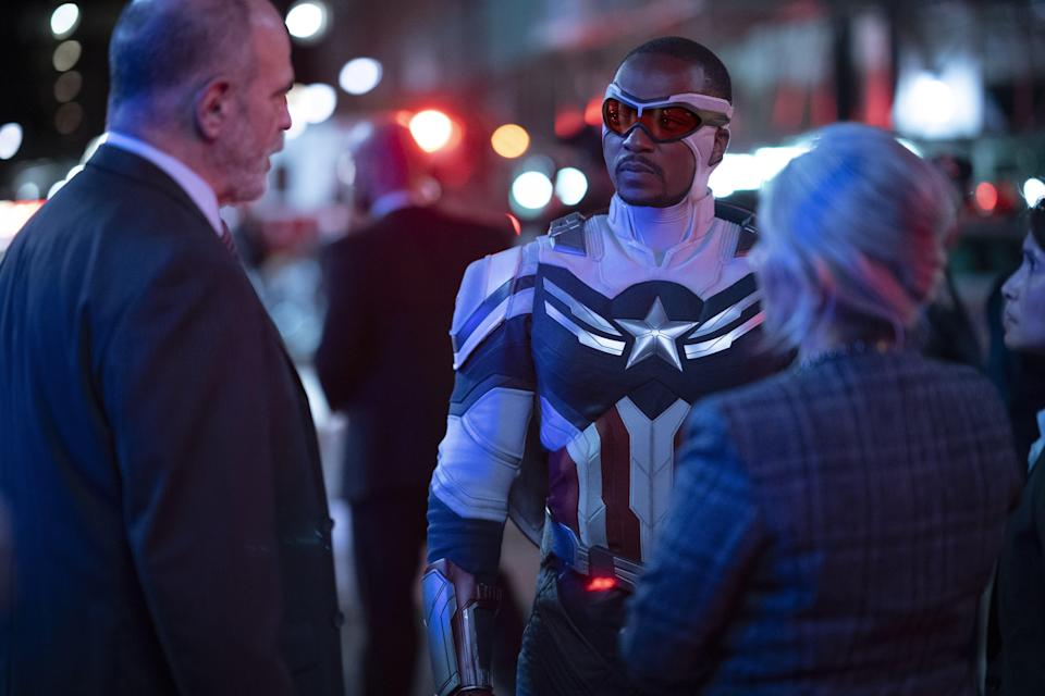 Sam Wilson (Anthony Mackie) makes it clear to folks that he's going to be a new kind of Captain America going forward.